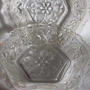 Pressed Glass Hexagonal Dish Bowl VTG Set of 2